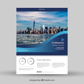 Negócio azul ondulado modelo de panfleto