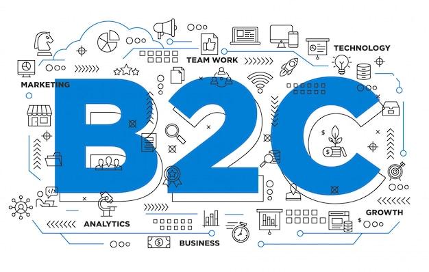 Negócio b2c ao fundo icônico do consumidor