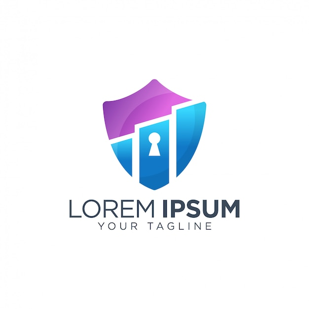 Negócio colorido com modelo de logotipo do escudo