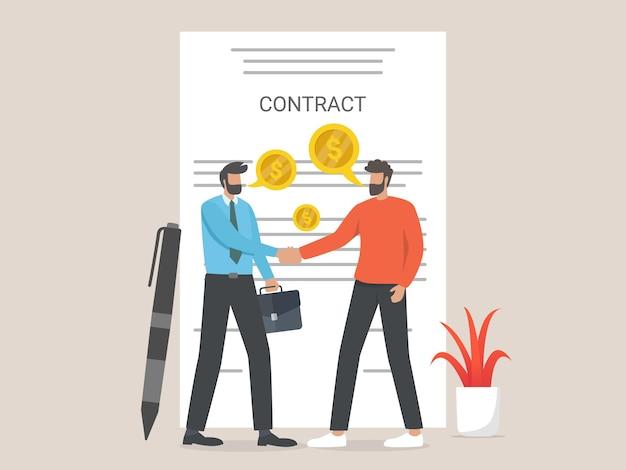 Negócio, contrato de assinatura do empresário. conceito de acordo de contrato.