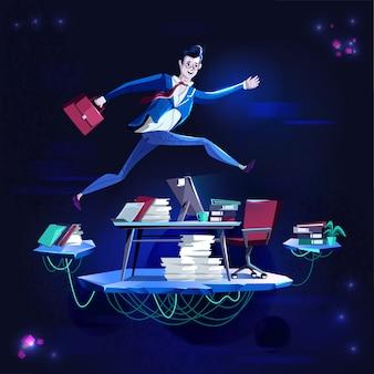 Negócio - correndo superando obstáculos, ilustração dos desenhos animados do vetor do conceito.