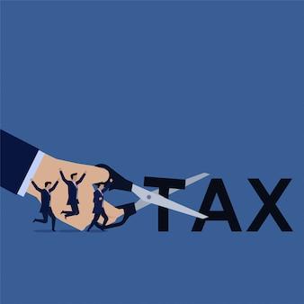 Negócio da mão corte a equipe feliz do texto do imposto. ilustração
