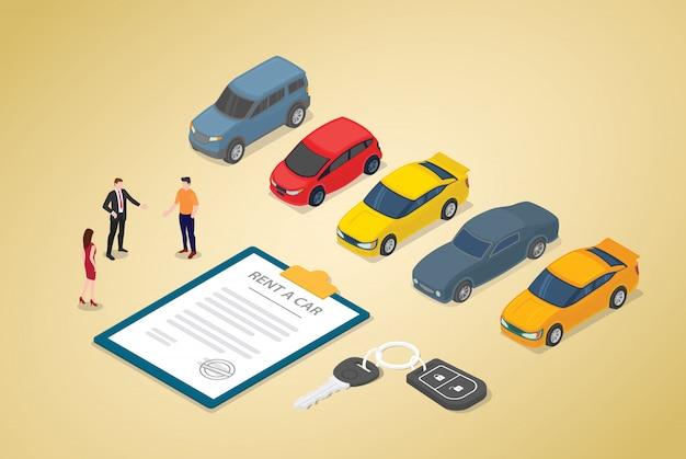 Negócio de aluguel de carros com vários modelos de carros e contrato em papel com pessoas da equipe