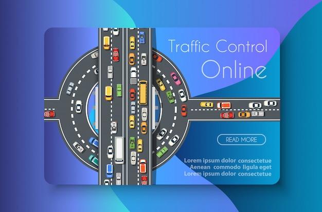 Negócio de conceito de transporte on-line de controle de tráfego