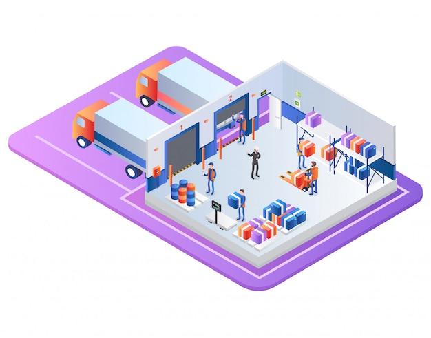 Negócio de distribuição de armazém industrial