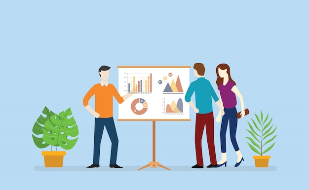 Negócio de equipe analisa dados de gráfico e gráfico