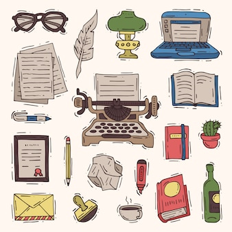 Negócio de escritório escritor na máquina de escrever e copywriter livro em papel no caderno ilustração copywriting conjunto isolado