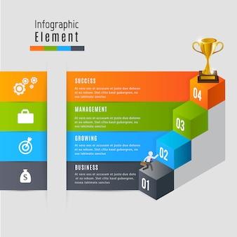 Negócio de etapa para infográfico de recompensa de sucesso