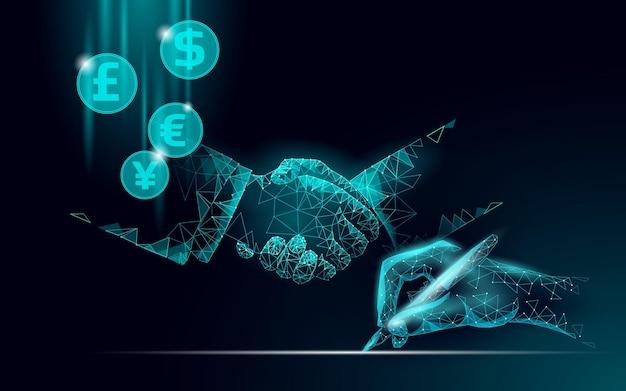 Negócio de finanças de aperto de mão de empresário 3d. conceito de contrato de acordo comercial. banner de baixo poli da rede web de sucesso. ilustração em vetor poligonal internacional de conexão de internet.
