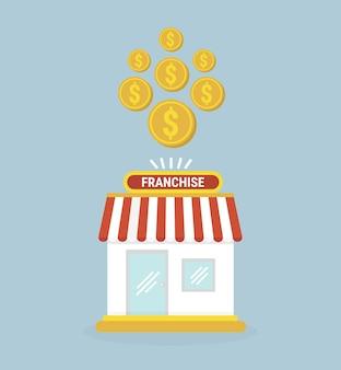 Negócio de franquia. pequena loja e moedas de ouro.