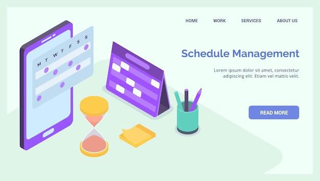 Negócio de gerenciamento de cronograma de projeto para banner de modelo de página inicial de desembarque de site isométrico