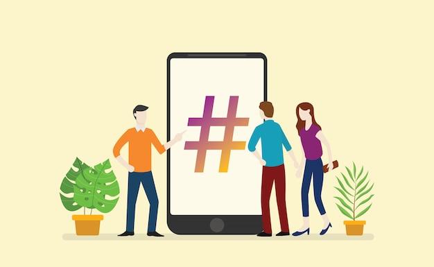 Negócio de hashtag de mídia social