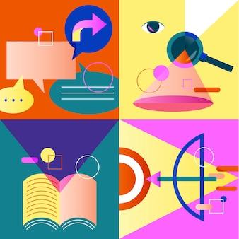 Negócio de ícone conjunto colorido