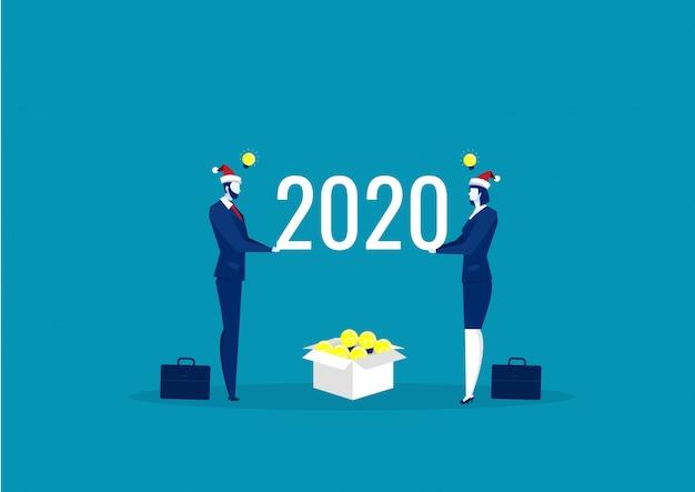 Negócio de ideia 2020 para investir. feliz ano novo vetor
