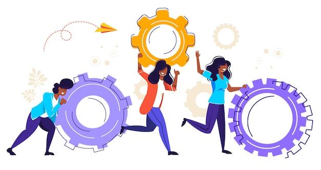 Negócio de ilustração, pessoas pequenas, links de mecanismo