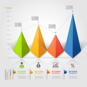 Negócio de infográficos de triângulo 3d.