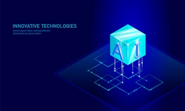 Negócio de inteligência artificial isométrico