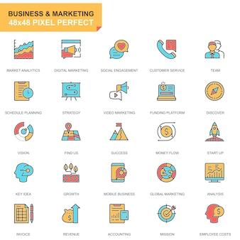 Negócio de linha plana e conjunto de ícones de marketing