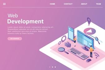 Negócio de página de destino de design isométrico