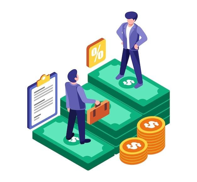 Negócio de parceiro de economia isométrica