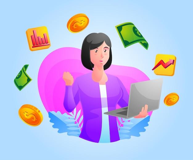Negócio de sucesso com mulher e laptop