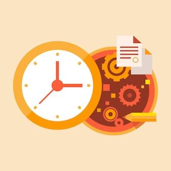 Negócio de tempo e trabalho de escritório