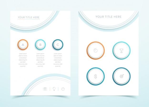 Negócio de vetor colorido 3d página modelo infográfico