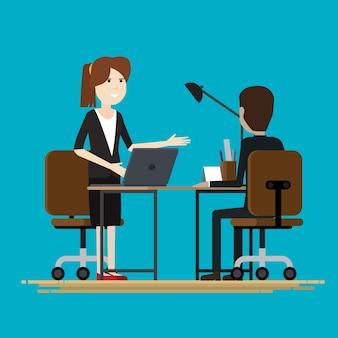 Negócio, duas pessoas, falando, sócios