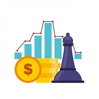 Negócio, e, xadrez, conceito