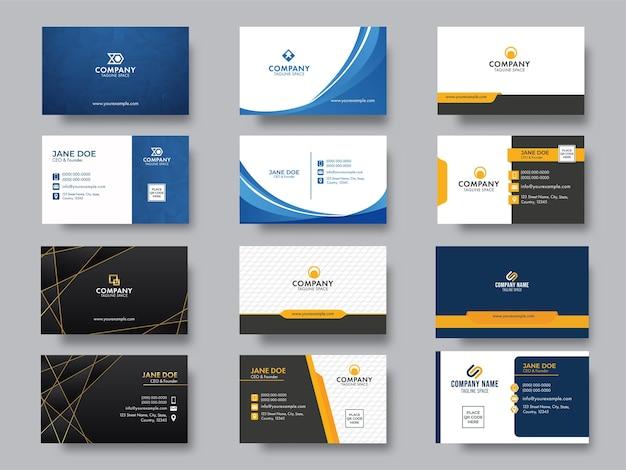 Negócio editável moderno ou conjunto de cartão de visita para publicidade