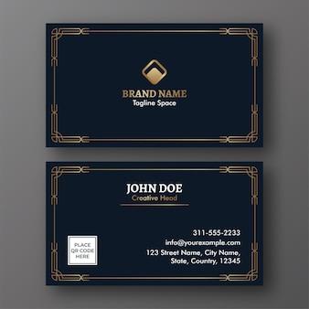 Negócio editável ou cartão de visita com dupla face nas cores azul escuro e dourado.