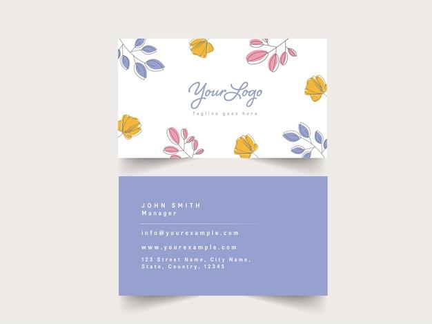 Negócio floral ou cartão de visita na frente e no verso.