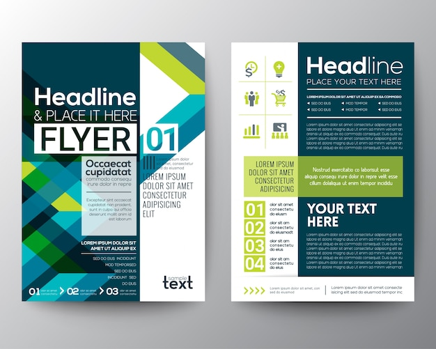 Negócio, folheto, flyer, desenho, disposição, molde, com, abstratos, verde, azul, geomã ©'ric, linha, forma, fundo