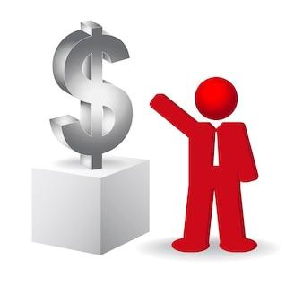 Negócio, homem, apontar, dólar, sinal