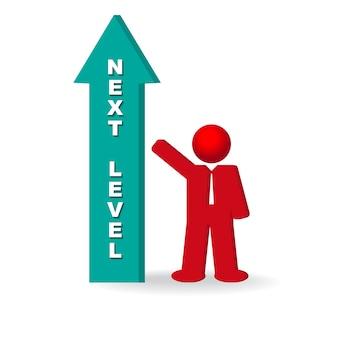 Negócio, homem, aspirante, avançar, próximo, nível, carreira
