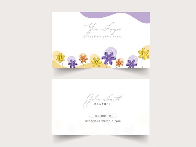 Negócio horizontal ou cartão de visita na frente e no verso.