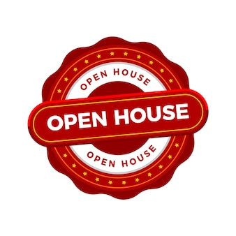 Negócio imobiliário com crachá de casa aberta