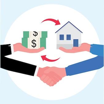 Negócio imobiliário mostrando acordo final de compra de uma casa de câmbio com dinheiro e um aperto de mão