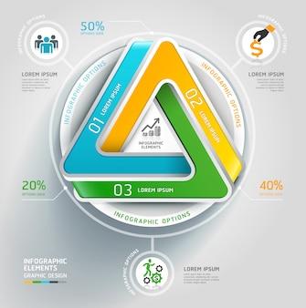 Negócio infinito moderno do diagrama da escadaria do triângulo 3d.