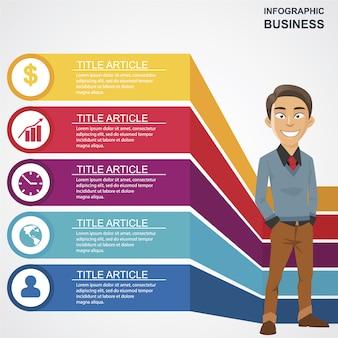 Negócio, infographic, feliz, homem, personagem