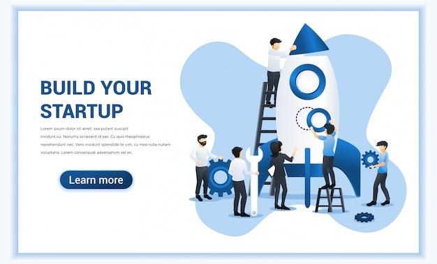 Negócio iniciar web banner conceito com as pessoas estão trabalhando juntas, construindo um foguete