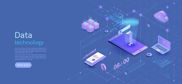Negócio isométrico do conceito do projeto moderno smartphone no fundo azul e em elementos infographic. design plano 3d isométrico. ilustração vetorial