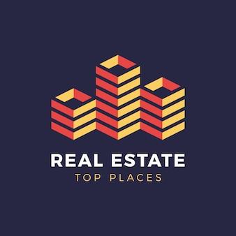 Negócio isométrico imobiliário logotipo da cidade arranha-céu.