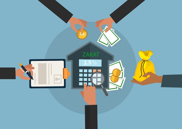 Negócio, mão, doação, zakat, conceito, muçulmano, islam, contagem, contagem, money.