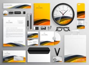 Negócio moderno amarelo abstrato da identidade de tipo