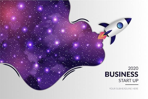 Negócio moderno arranque com foguete realista e fundo da galáxia