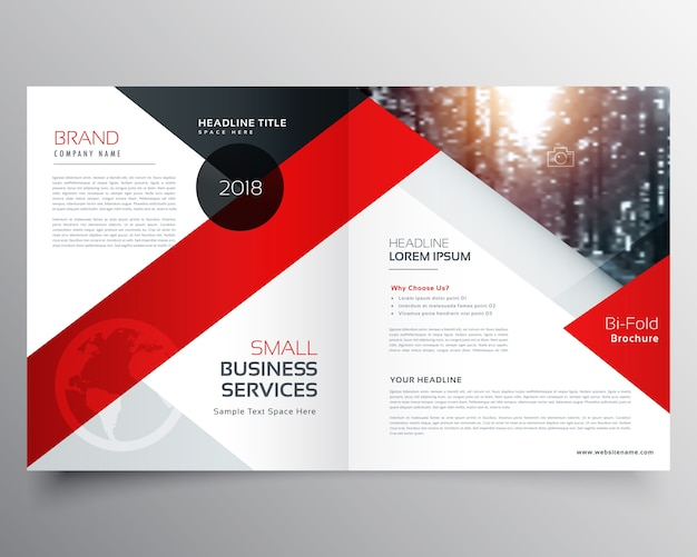 Negócio moderno bifold brochura design modelo ou revista página design