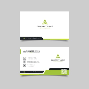 Negócio moderno branco preto e verde profissional corporativo Vetor Premium