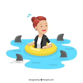 Negócio, mulher, cercado, tubarões