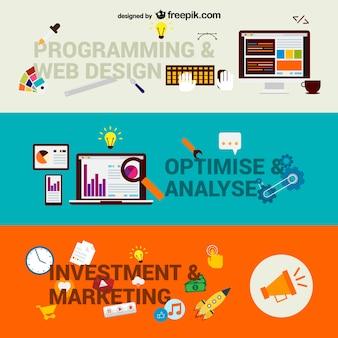 Negócio na web passos vector